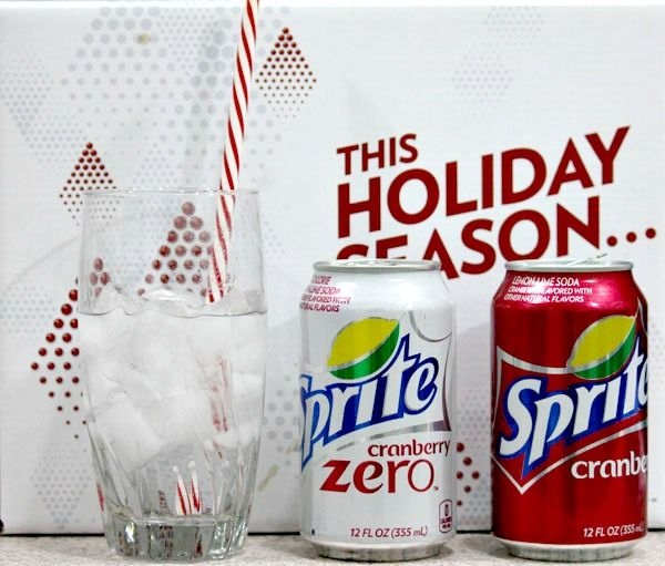 Sprite Cranberry Sparkle: Combine four cups of Sprite Cranberry with three cups of orange juice, one cup of pomegranate juice, 1⁄4 cup of lemon juice, one teaspoon of nutmeg, one teaspoon of cinnamon and fresh or dried cranberries as a garnish. (makes two liters)