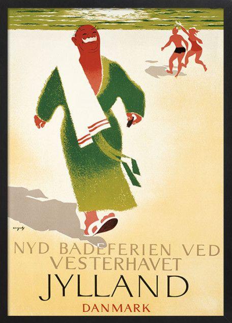 Jutland, Denmark. Viggo Vagnby. Beach vacation vintage travel poster