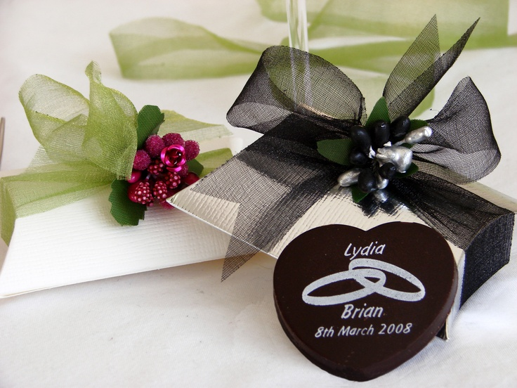 Wedding Chocolates - personalised, packaged in pillow boxes