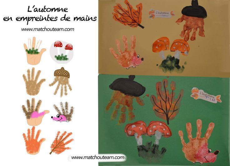 www.matchouteam.com Empreintes de mains pour l'automne | Hérisson, champignon, feuille, gland ! Le tout dans un tableau...