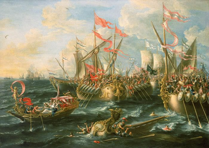 The Battle of Actium was the decisive confrontation of the Final War of the Roman Republic. It was a naval engagement fought between the forces of Octavian and the combined forces of Mark Antony and Cleopatra VII. The battle took place on 2 September 31 BC, on the Ionian Sea near the city of Actium, at the Roman province of Epirus vetus in Greece. Octavian's fleet was commanded by Marcus Vipsanius Agrippa, while Antony's fleet was supported by the ships of Queen Cleopatra of Ptolemaic Egypt.