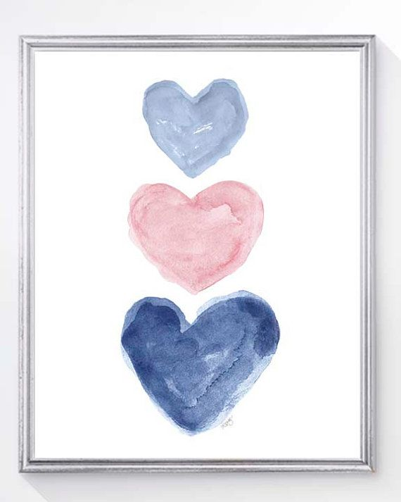 """A pretty pale pink pink and navy blue heart print created from my original watercolor paintings.  Details Paper size is 5 x7 or 8"""" x 10"""". 5 x 7 is printed on white linen textured paper and 8 x10 is printed on white finely textured art paper. Fits perfectly in standard frame. Frames are not included.  Shipping info Your print is carefully packaged in a protective cello bag within a rigid flat mailer and shipped via USPS first class mail.  While I do everything possible to present the colors…"""