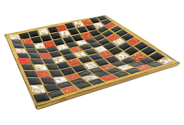 Midcentury Mosaic Tile Dish #halloween colors or year round fun! by Ruby + George on @Jonathan London Kings Lane