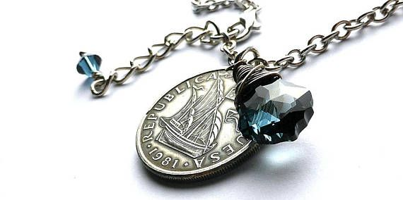 Portugal Coin necklace Nautical necklace Sailing necklace
