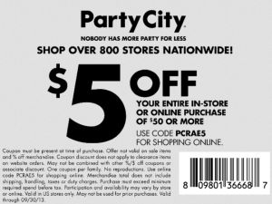 Halloween 2013 Coupons -  Party City printable coupon for $5 off until September 30, 2013.