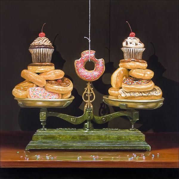 """- Description - Composition details - Print info Experts always advise that we """"find balance"""" in our lives! Balanced Diet was conceived after finding this splendid scale in a Texas antique store. But"""