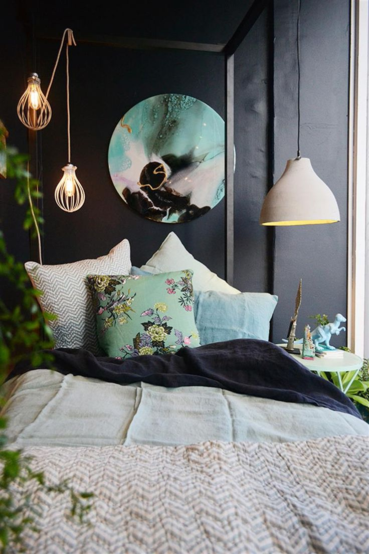 Amazing bed room decoration with a beautiful bed sheet & pillows and a elegant lighting and also a wall canvas print as well as other elegant accessories. It's a modern and classic interior bed room decoration idea. http://www.urbanroad.com.au/