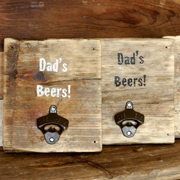 Wall mounted, reclaimed wood personalised bottle opener