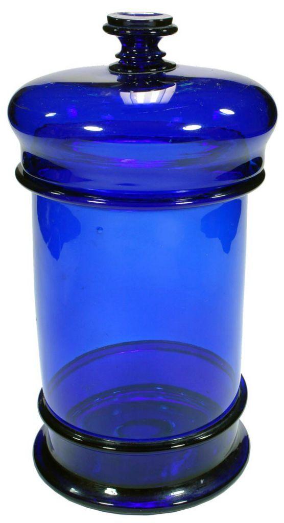 Large Cobalt Blue glass lidded jar. Antique Chemist ware.