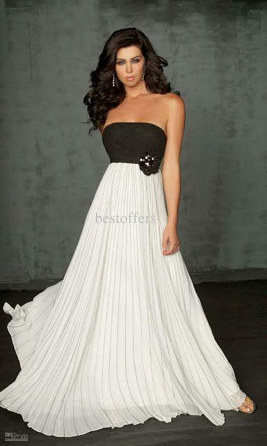 Siempre en blanco y negro   Vestidos de moda                                                                                                                                                      Más