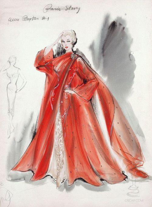 Costume sketch by Helen Rose for Anne Baxter in 'Bedevilled', 1955.