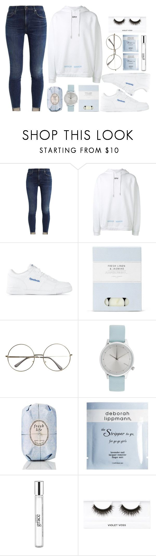 """Believer"" by antisocial-vagabond ❤ liked on Polyvore featuring Off-White, Reebok, Laura Ashley, Komono, Fresh, Deborah Lippmann, philosophy and Violet Voss"