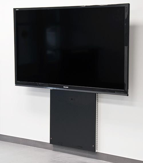 "TP200-WM wall offset stand for single monitor applications. A wall mounted metal frame with ventilation, 1U rack and cable management for keeping your install simple and external to wall. Standard color is black. The TP200-WM accommodates 40""-80"" displays (160 lbs max)."