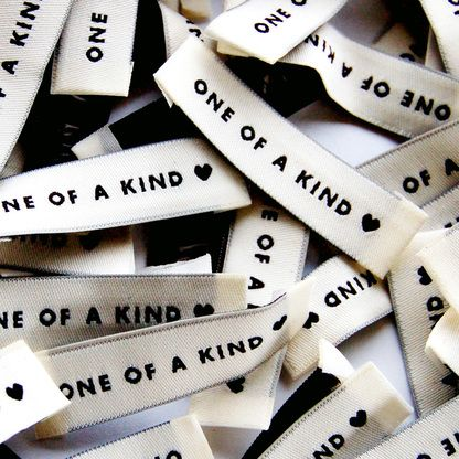 """""""One of a Kind"""" Woven Clothing Label - Pack of 4 Sew-In Labels"""