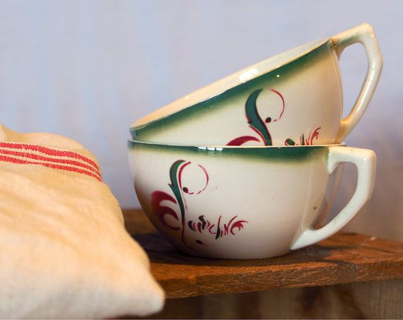 """Set of 2 collectible cups from the French Bank «La Caisse d Epargne», Set of 2 Vintage Collectible Coffee Cups,Commercial Gift,DIGOIN,French Bank """"La Caisse d'Epargne"""",Made in France"""