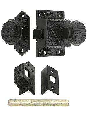 "Screen Door latch. Exterior backplate - 2 1/4"" H x 1 1/16"" W. Interior lock body - 2 1/4"" H x 1 7/8"" W. Knobs - 1 1/4"" diameter x 1 3/4"" projection (including lock body)."