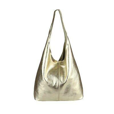 Photo of ITAL LADIES LEATHER BAG Metallic XXL Shopper Shoulder Bag Hobo-Bag Leather Bag …