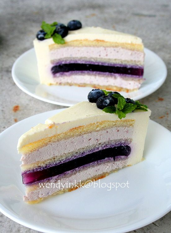 Blueberry Yogurt Mousse Cake by wendyinkk #Cake #Blueberry #Yogurt #Mousse