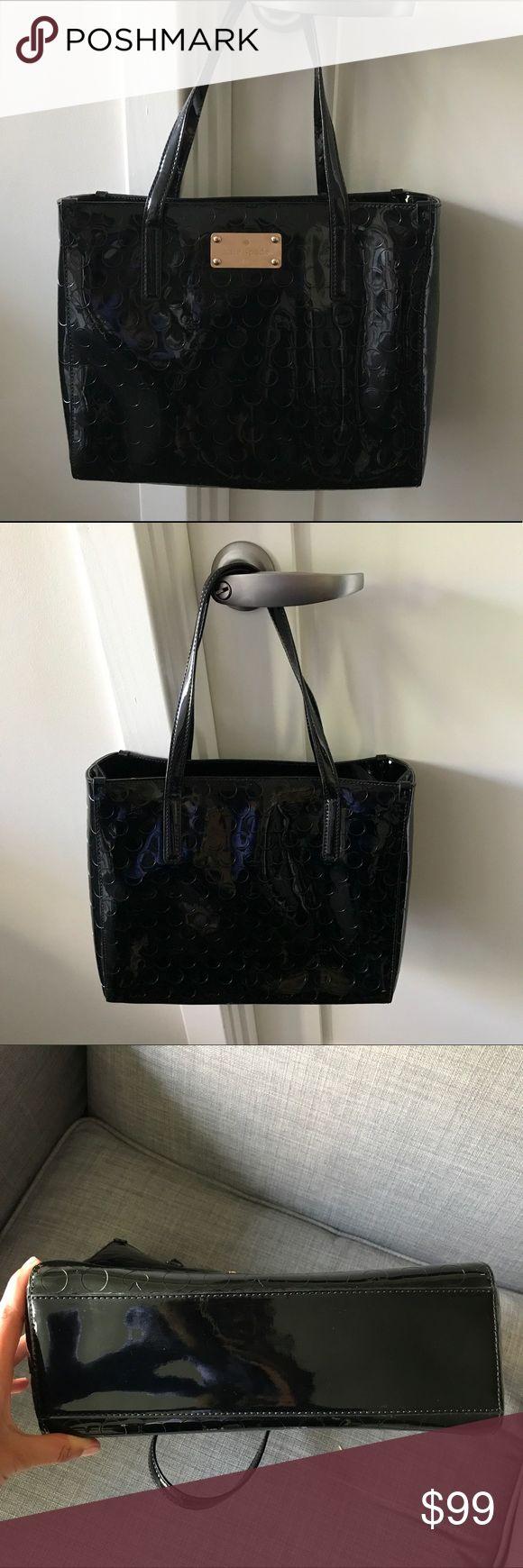 Kate Spade Patent Leather Polka Dot Handbag Never been used Kate Spade patent leather polka dot handbag. Inside zipped pocket. Dimensions: 11 1/2 x 9 1/2 x 4 1/2 inches. kate spade Bags Shoulder Bags