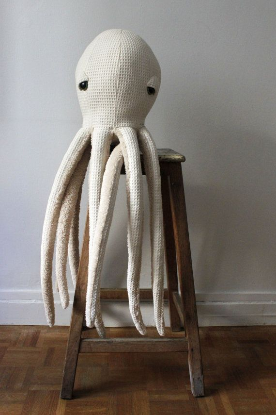 BIG Albino Octopus Handmade Plush toy Stuffed by BigStuffed