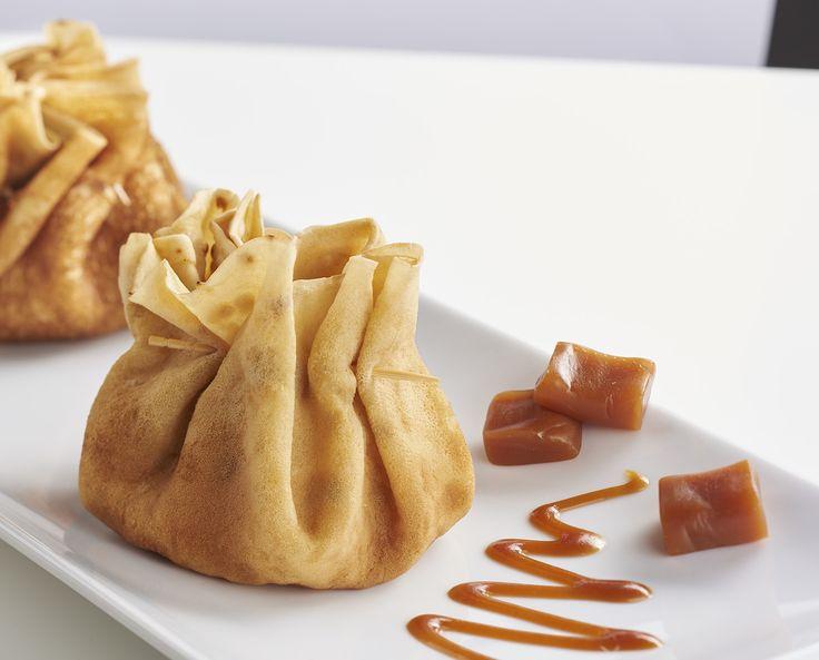 Aumônières de crêpes caramel aux poires
