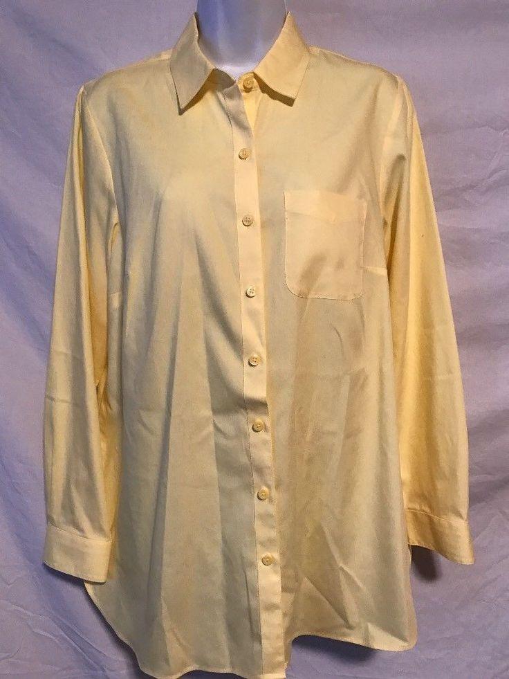 Coldwater Creek Women Medium 10/12 Yellow No Iron Button Down Oxford Shirt Top    eBay