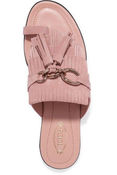 Tod's - Embellished Fringed Suede Sandals - Blush - IT39.5