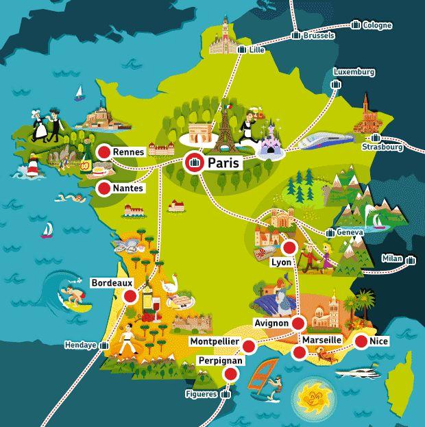 Carte de France touristique | Voyage europe