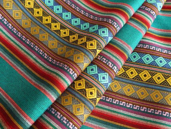 Aztec Fabric, Peruvian Fabric, Woven, Cusco Blue, 1 Yard on Etsy, €13,53