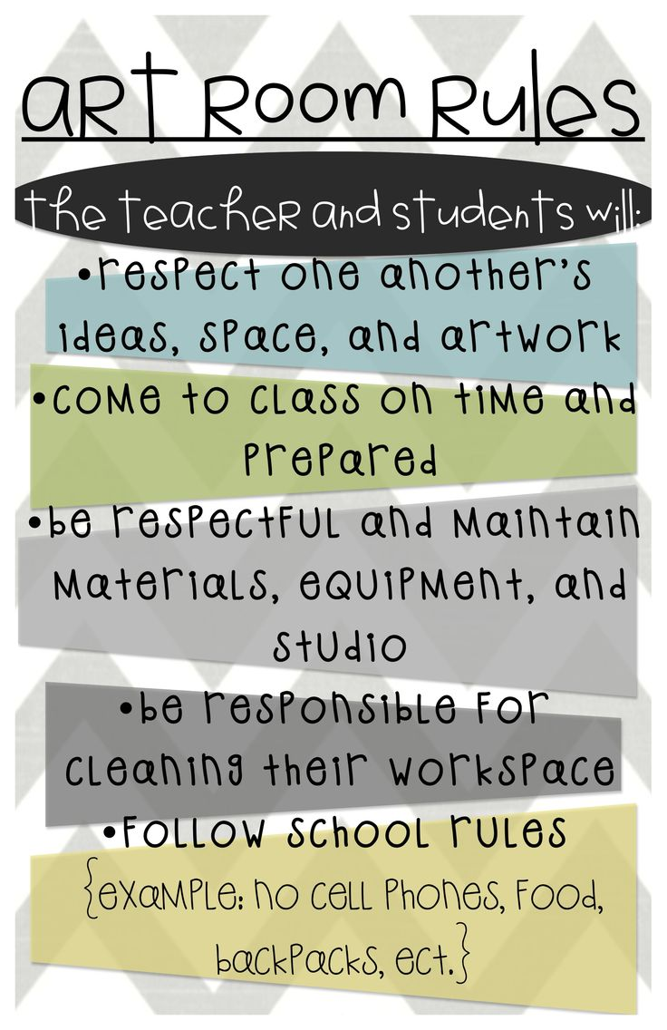 elementary art class rules behavior expectations