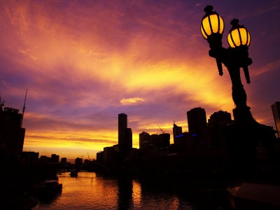 Sunset and Lamp, Rialto Towers and Yarra River, Melbourne, Victoria, Australia