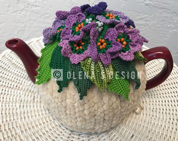 Té acogedor té beige tapa primavera flor violeta té acogedor té calentador flor verde ganchillo accesorios té accesorio de cocina de ganchillo