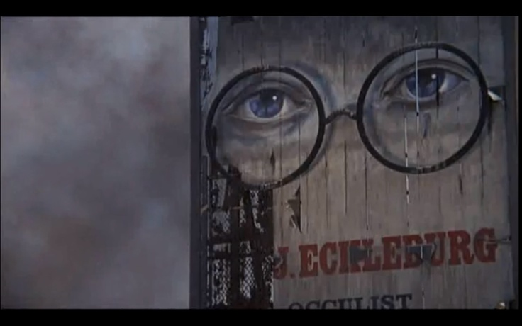 """a focus on dr eckleburg in fitzgeralds the great gatsby The most famous piece of imagery in """"the great gatsby"""" is the billboard in the valley of ashes featuring the large eyes of the optician dr tj eckleburg nick describes the fading advertisement: """"the eyes of doctor tj eckleburg are blue and gigantic – their retinas are one yard high."""