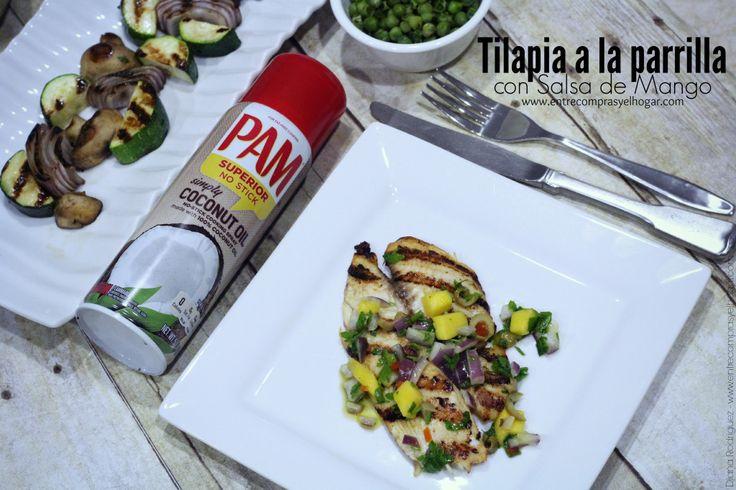 Para estas tardes de verano te comparto una deliciosa receta ligera y muy deliciosa! Tilapia a la parrilla en Salsa de Mango -->http://www.entrecomprasyelhogar.com/2014/07/tilapia-a-la-parrilla-con-salsa-de-mango/ Guardala en Pinterest ->http://www.pinterest.com/pin/86764730296514900/ #CocinaconPAM #ad
