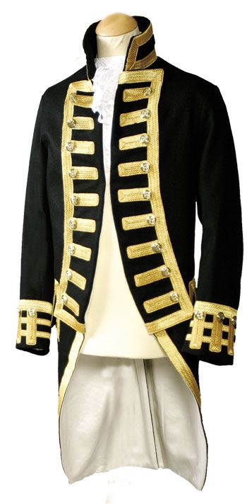 Admirals Frock   Full Dress Frock for an admiral from the deriod 1795-1812.  made from superfine navy blue wool, fitted  with mylar gold lace