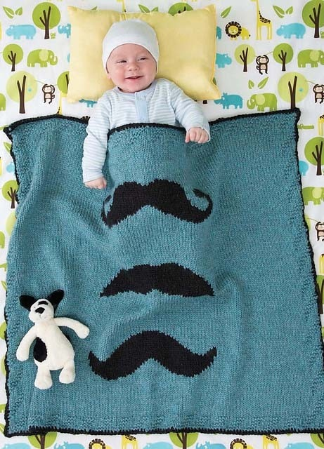 There are so many great blankets in the new 60 Quick Baby Blankets book. But the Mustachioed blanket makes me smile every time I see it.