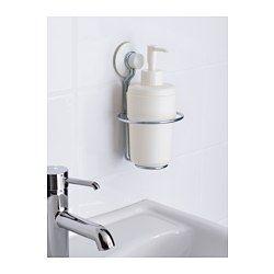 IKEA - IMMELN, Support distributeur de savon, Doté de ventouses qui adhèrent à toute surface lisse.