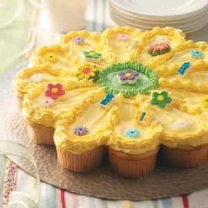 Sunny Flower Cake Recipe from tasteofhome.com: Flowers Cupcakes, Food Colors, Flower Cakes, Savory Recipes, Cupcakes Recipes, Flowers Cakes, Sunny Flowers, Cupcakes Cakes, Birthday Cakes