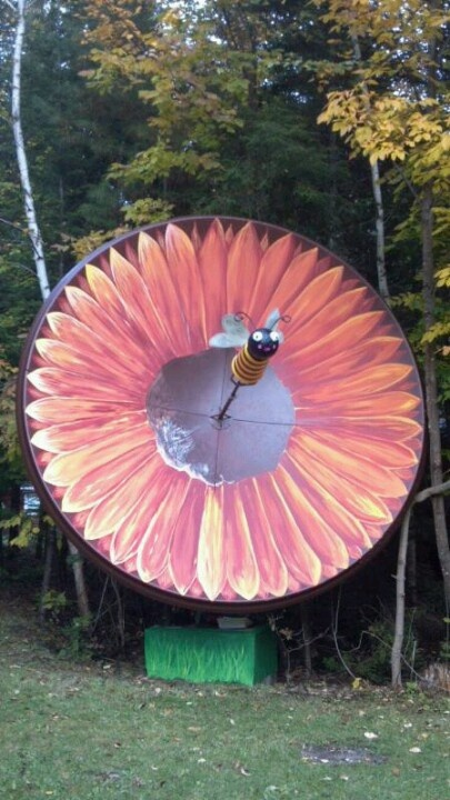 What to do with a 12' unhooked satellite dish...REINVENT it into something fun!