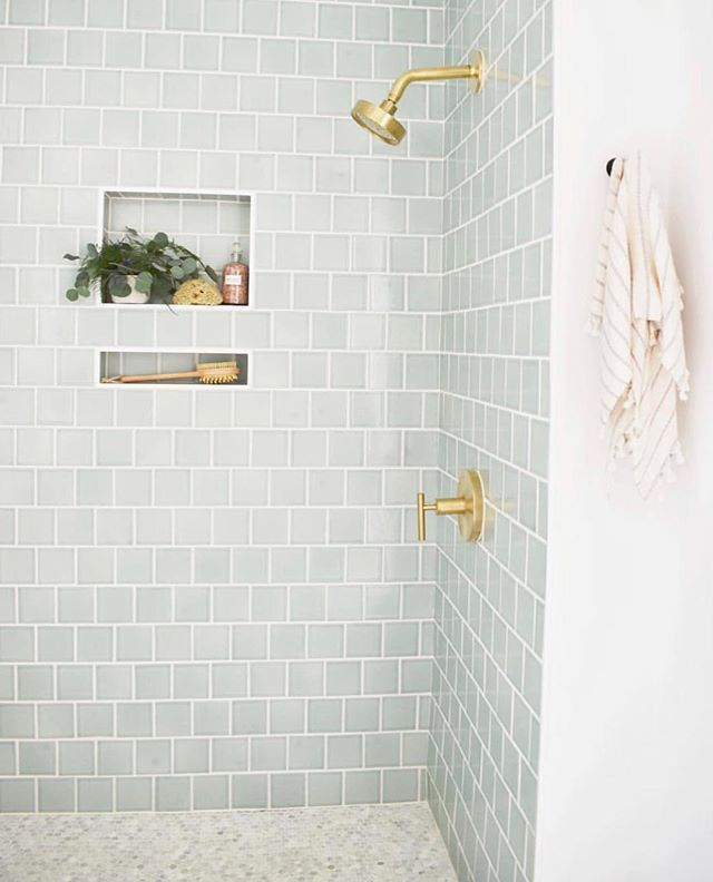 Fireclay Tile Fireclaytile Instagram Photos And Videos Brass Fixtures And Small Blue Tile With Inset She Bathroom Inspiration House Bathroom Gold Fixtures