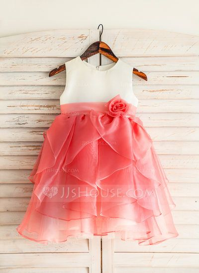 [US$ 54.19] A-Line/Princess Knee-length Flower Girl Dress - Organza/Satin/Cotton Sleeveless Scoop Neck With Ruffles/Flower(s)