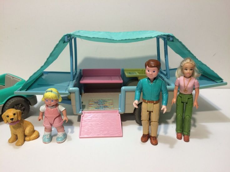 Dollhouse Fisher Price Loving Family Pop Up Camper Car Figures Xtra Dog 1997 Lot | eBay
