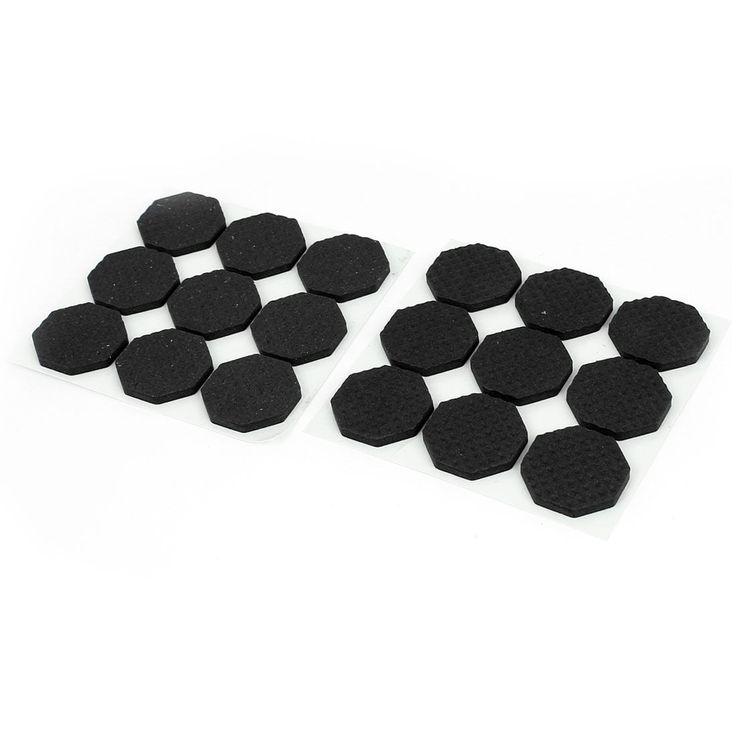 Unique Bargains Furniture Floor Black Hex Shape 30mm Foam Protection Cushion Pad 18 Pcs