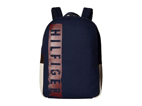 TOMMY HILFIGER Hilfiger Duffles-Backpack-Washed Canvas w/ PU Trim. #tommyhilfiger #bags #canvas #backpacks #cotton #