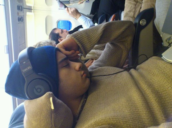 Zayn asleep on the way to Germany 30th November 2011