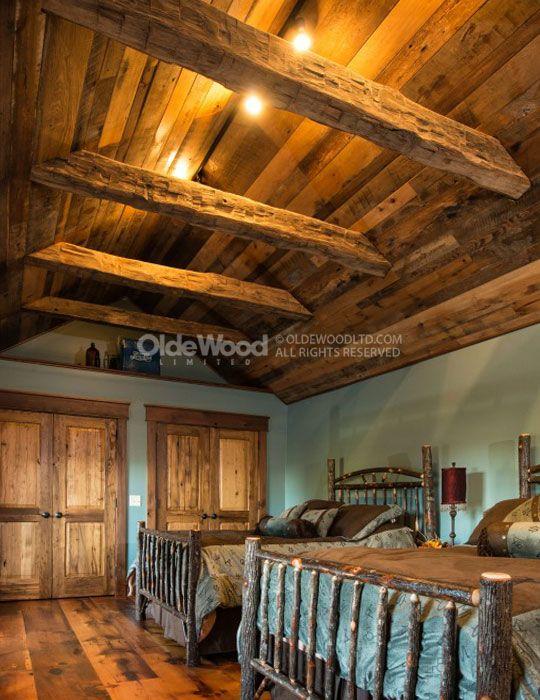 Hand Hewn Barn Beam Ceiling – Bedroom