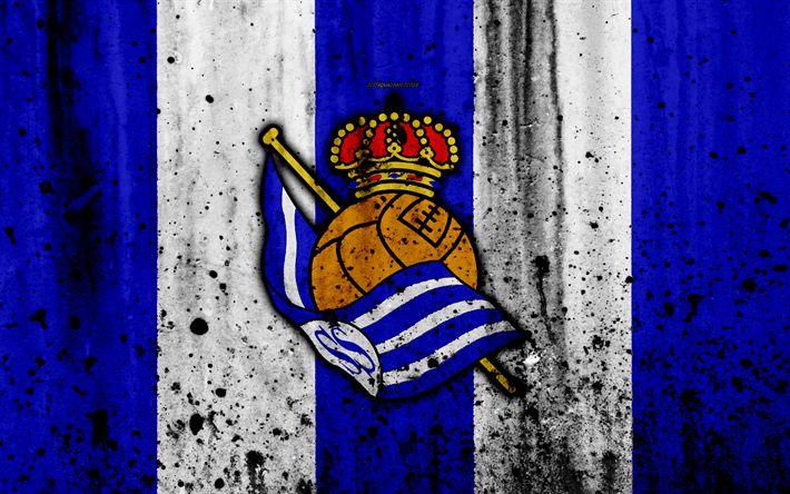 Download wallpapers Real Sociedad, 4k, grunge, La Liga, stone texture, soccer, football club, LaLiga, Real Sociedad FC