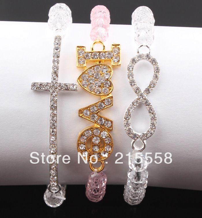 Honesty Rhinestone Crystal Beads Side Way Sideways Cross Love Infinity Digit 8 Charm Adjustment Stretchy Bracelet Jewelry ZB008
