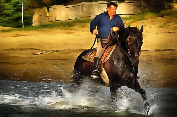 Riding at Lido di Gianello near Orbetello, Tuscany