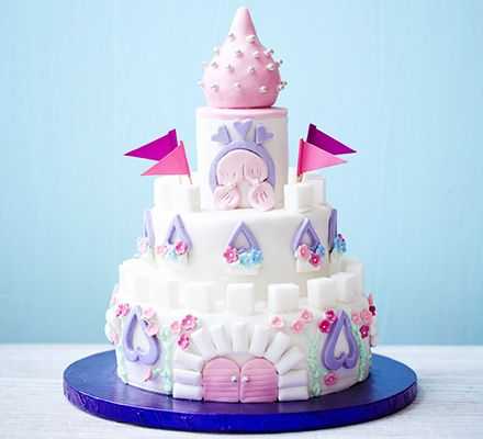 Easy castle cake.   A magical three-tiered sponge cake that's simple to make, but no one would ever guess...